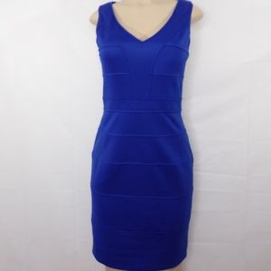 Vince Camuto Blue Bandage Look Fitted Dress, Sz 4,